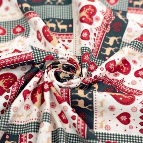 Coton de Noël vert et ocre motif coeur et renne