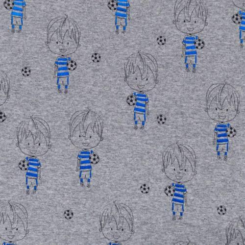 Jersey gris chiné motif petit footballeur bleu brillant