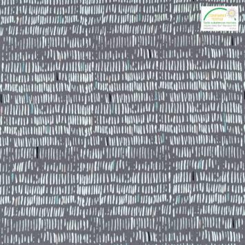 Popeline de coton grise motif courtes rayures blanches