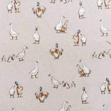 Toile aspect lin motif canard