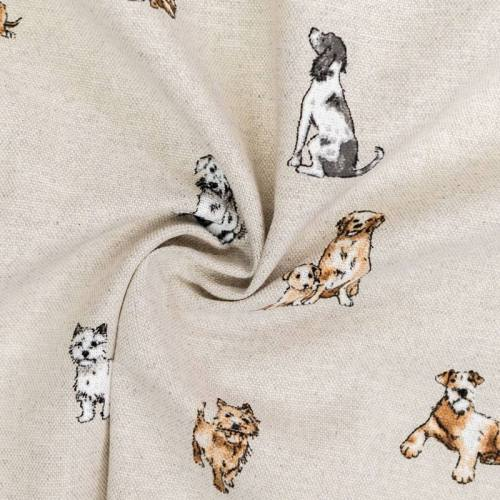 Toile aspect lin motif chien