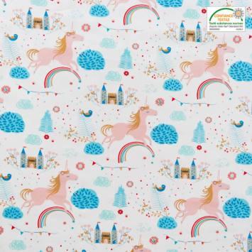 Popeline de coton blanche motif licorne
