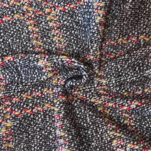 Tissu lainage petites bouclettes écru, jaune, rouge et noir