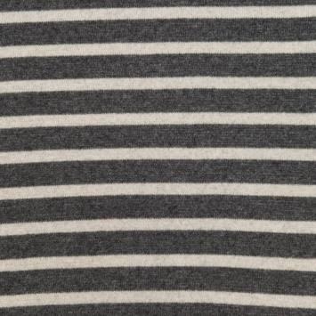 Tissu lainage gris foncé et beige à rayures