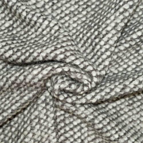 Tissu lainage effet maille gris et blanc