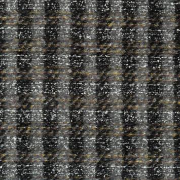 Tissu lainage rayé gris noir et blanc