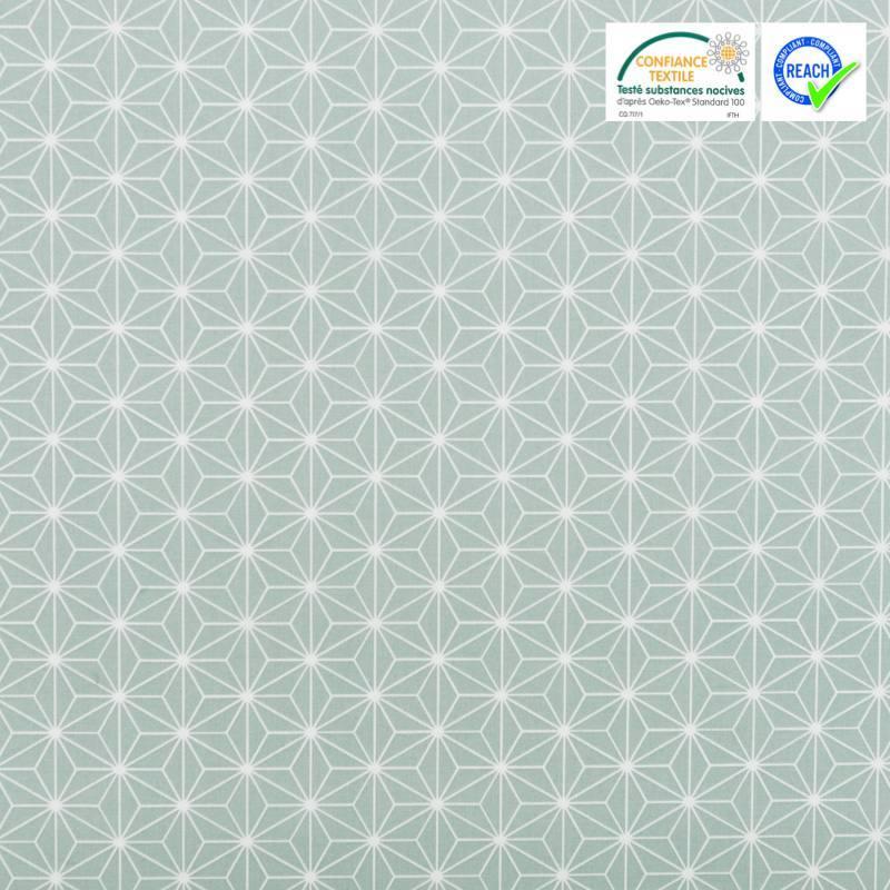 Coton vert givré grand motif asanoha blanc