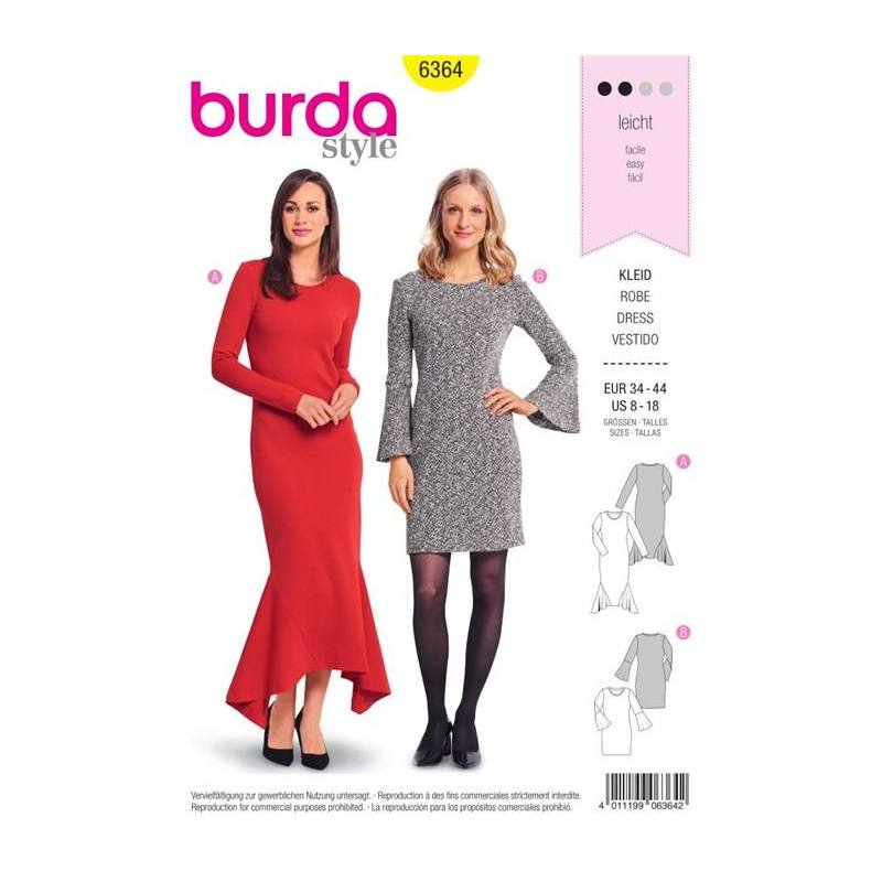 Patron Burda 6364 : Robe Taille 34-44