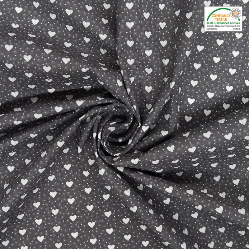 Coton gris imprimé petit coeur blanc