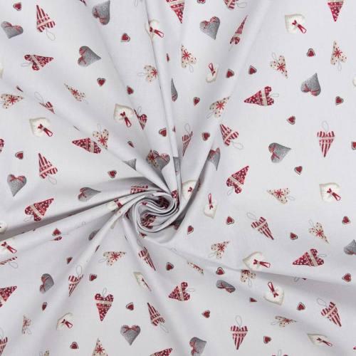 Coton Noël gris imprimé coeurs gris et rouges