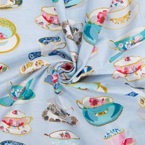 Coton cretonne bleu motif tasse de thé