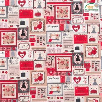 Coton cretonne écru et rouge motif boite à couture