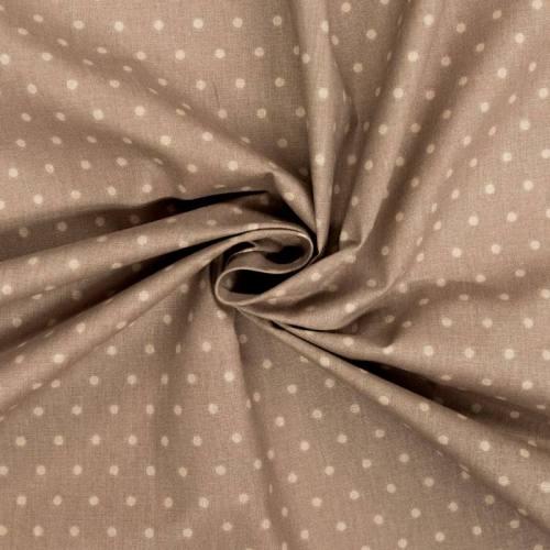 Coton cretonne taupe pois beige