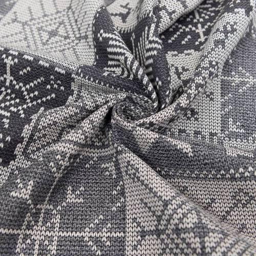 Jacquard gris motif maille jersey écrue