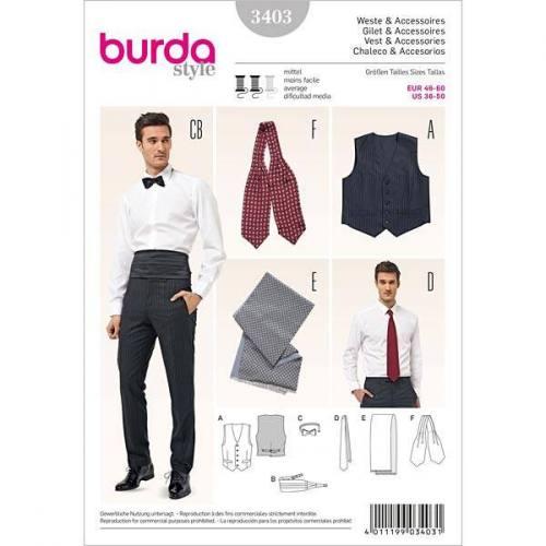 Patron Burda N°3403 style : Gilet Taille : 46-60