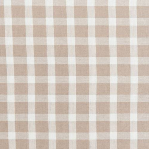 Toile coton effet tissé carreaux écrus et lin