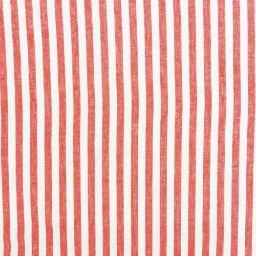 Toile coton effet tissé rayures rouges et blanches