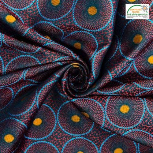 Jacquard noir motif cercles ethniques rouges et bleus