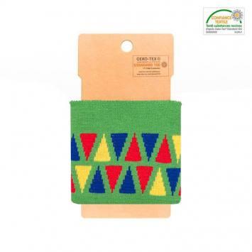 Bord-côte vert à triangles bleus et rouges