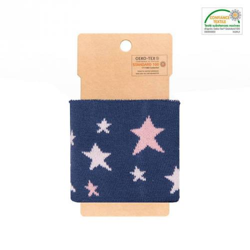 Bord-côte bleu à étoiles roses