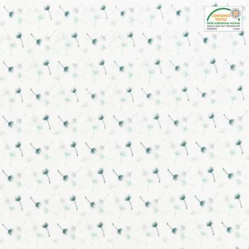 Voile de coton blanc motif petit pissenlit vert et gris