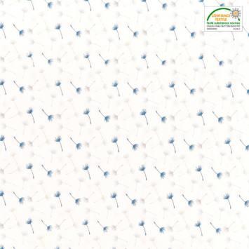 Voile de coton blanc motif petit pissenlit bleu et gris