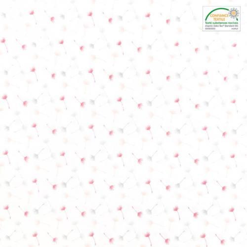 Popeline de coton blanc motif petit pissenlit rose et gris