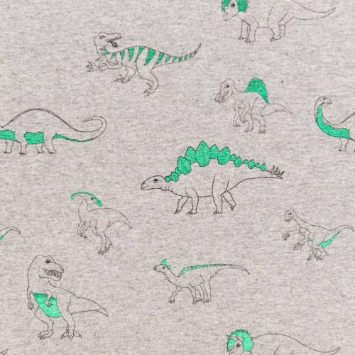 Jersey gris chiné motif dinosaure vert brillant