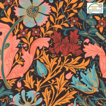 Velours ras noir motif floral orange, bordeaux, rose et bleu