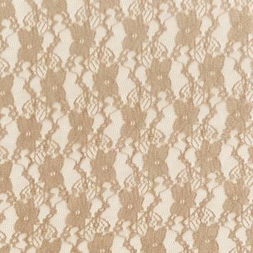 Dentelle extensible beige motif fleur pensée