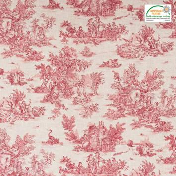 Coton cretonne grège petit motif pastoral rouge