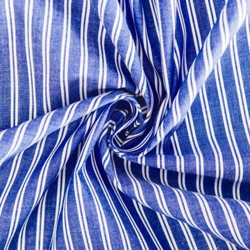 Coton pour chemisier bleu foncé à double rayures blanches