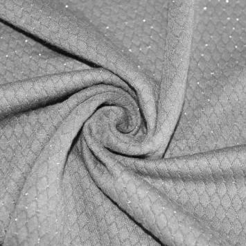 Maille gaufrée grise paillettes argent