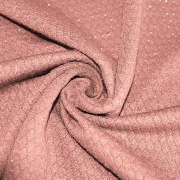 Maille gaufrée lurex vieux rose