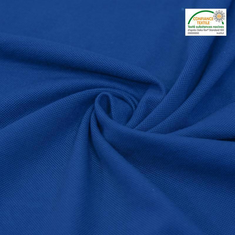 Coton piqué pour polo bleu
