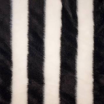 Fausse fourrure blanche et noire à rayures