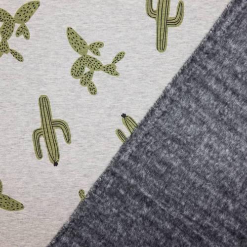 Tissu molleton gris motifs cactus envers polaire