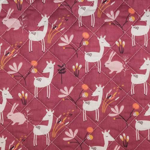 Tissu matelassé enfant motif lapin et biche faola et fleurs bulodi