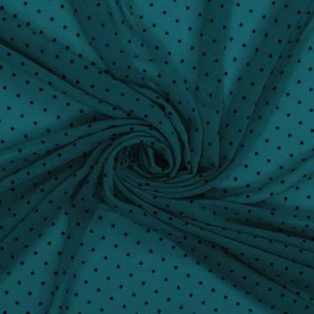 Voile plumetis bleu canard pois noirs