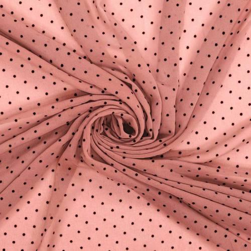 Voile plumetis rose pois noirs