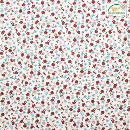 Coton blanc motif petites roses rouges et vieux rose