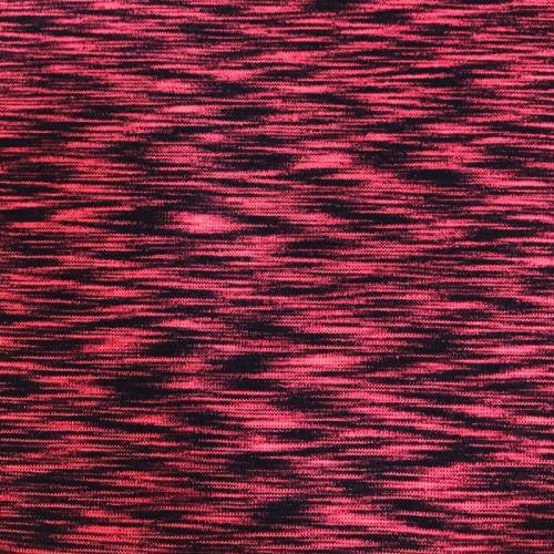 Tissu tubulaire bord-côte chiné noir et rose fluo