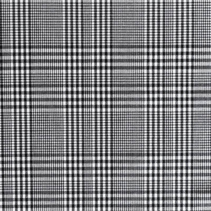 Tissu tartan carreaux irréguliers noirs et blancs