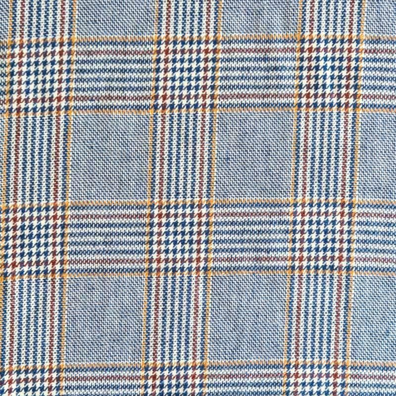 Tissu tartan bleue orange et marron