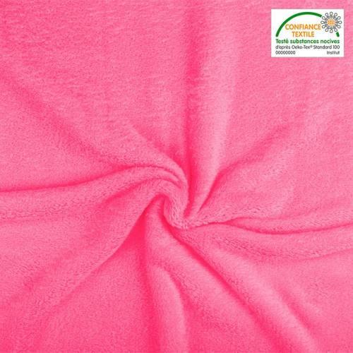 Polaire soyeuse unie rose bonbon