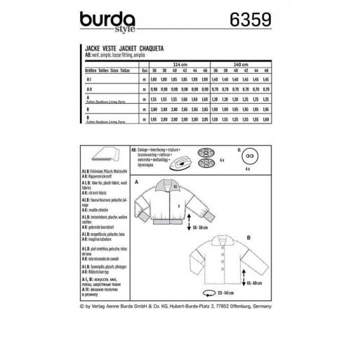 Patron Burda 6359: Veste Taille 36-46
