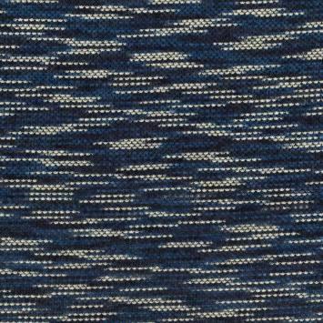 Tissu lainage effet mailles chinées bleues et blanches
