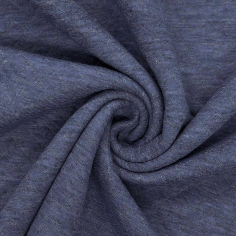 Tissu molleton matelassé bleu jean