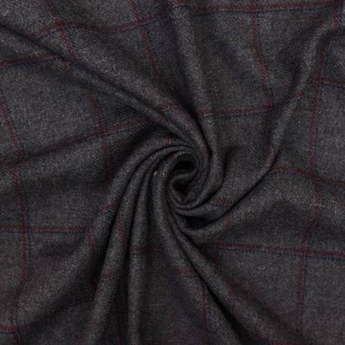 Lainage anthracite motif carreaux fins rouge et bleu