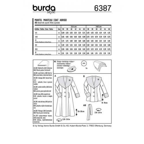 Patron Burda 6387 : Manteau Taille 36-46